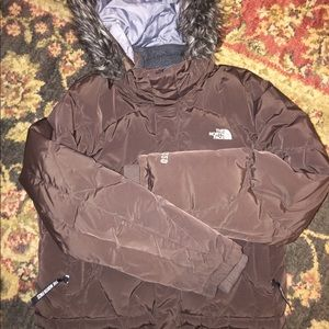 The North Face Girls 550 Puffer Brown L 14/16 Mint